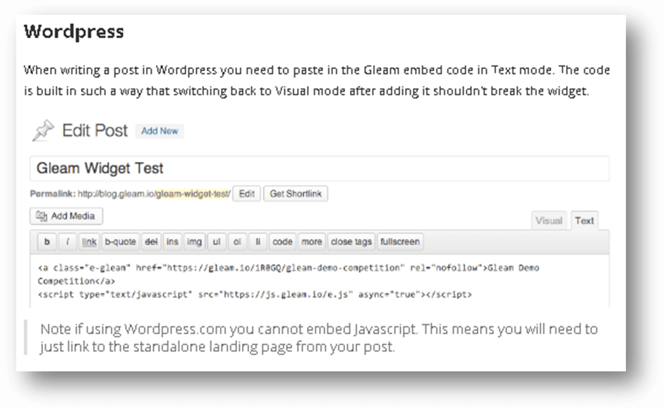Rafflecopter WordPress code