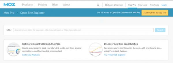 Open Site Explorer online backlink checker