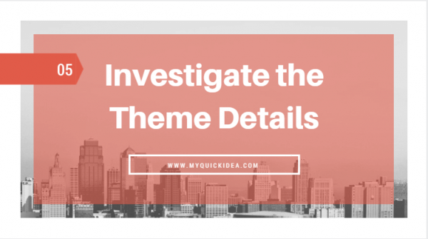 Investigate the Theme Details
