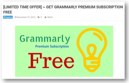 grammarly premium subscription free