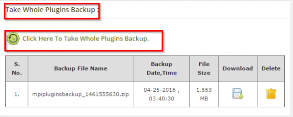 Take Whole Plugins Backup