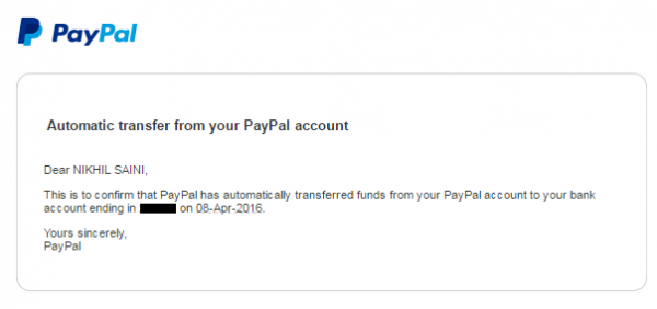 paypal payment notification
