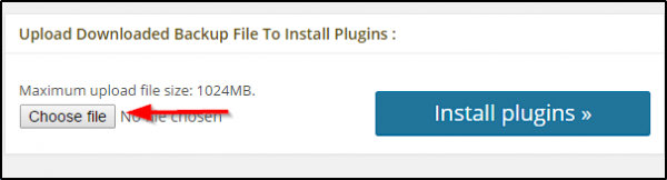 upload downloaded backup file to install plugins