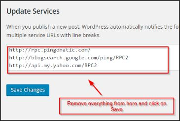 remove everything from update services and click on Save