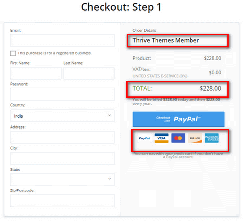 thrive membership checkout page
