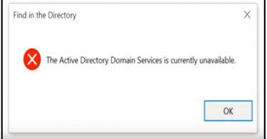 fix active directory domain services unavailable error