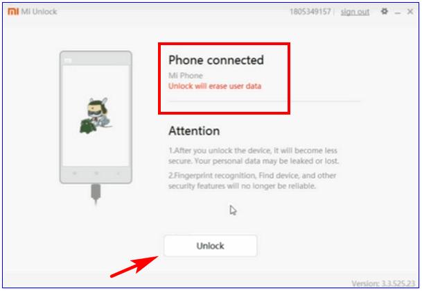 click on unlock button
