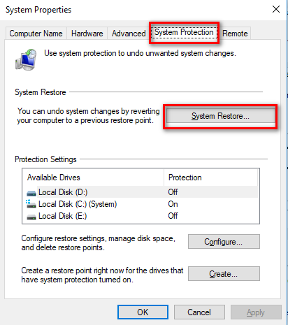 click on system restore in system protection