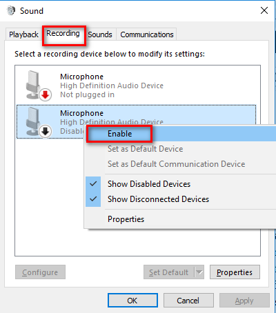 enable microphone
