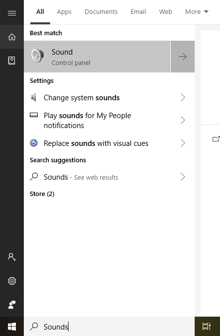 open sound using windows search