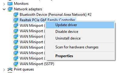 update network adapter driver