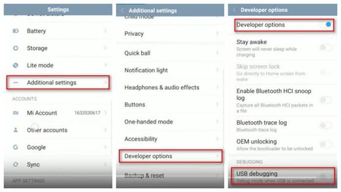 enable usb dubugging option