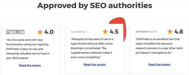 Recommended tool from SEO authorities