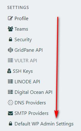 default wp setting select